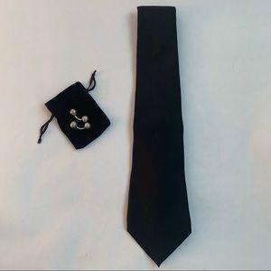 Giorgio Armani Men's Tuxedo Black Soft Silk Tie